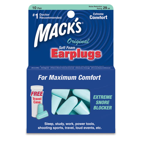 Macks Original Soft Foam Earplugs, 10 pair