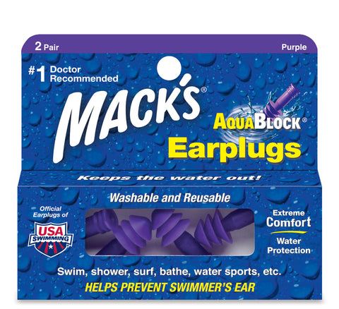 Macks AquaBlock Earplugs, 2 pair