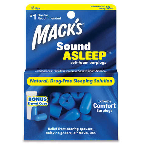 Macks Sound Asleep Soft Foam Earplugs, 12 pair