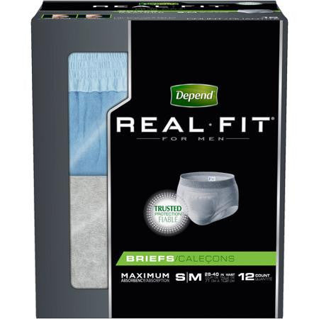 Depend Real Fit for Men Briefs, S/M, 48 count
