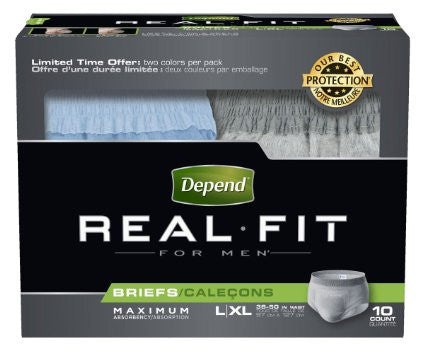 Depend Real Fit for Men Briefs, L/XL, 40 count