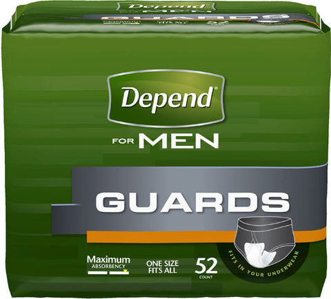 Depend for Men Guards, Maximum Absorbency, 52 ea