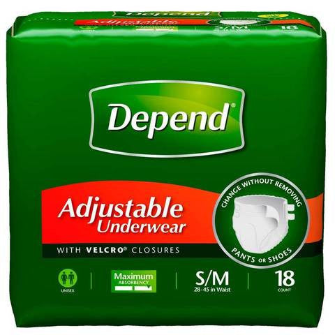 Depend Adjustable Underwear,  Maximum Absorbency, S/M, 72 count