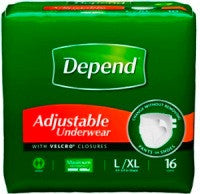 Depend Adjustable Underwear,  Maxiumum Absorbency, L/XL , 64 count