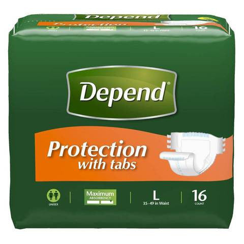 Depend Fitted Maximum Protection Briefs, Large, 48 count