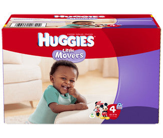 Huggies Little Movers Diapers, Size 4, 96 ea