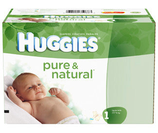 Huggies Pure & Natural Diapers, Size 1, 132 ea