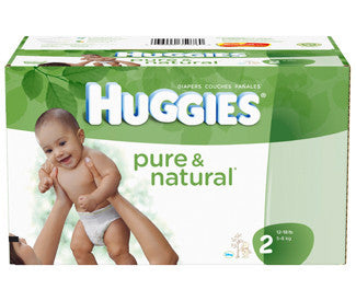 Huggies Pure & Natural Diapers, Size 2, 120 ea