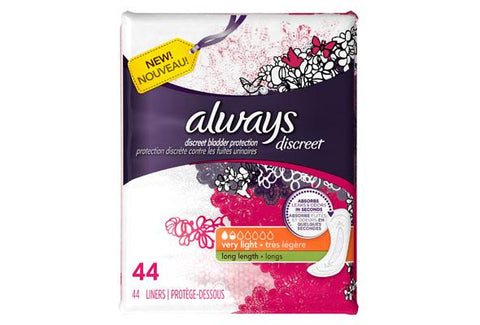 Always Discreet Liners, Very Light, Long, 3 Units x 44 Pads (132 total)