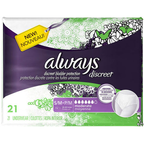 Always Discreet Underwear, Moderate, Small/Medium, 3 Units x 21 ct (63 total)