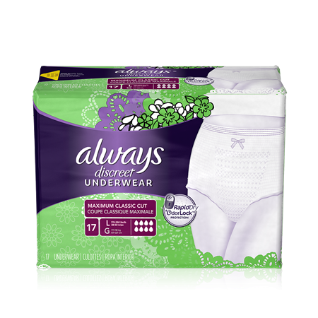 Always Discreet Briefs, Maximum, Large, 3 Units x 17 ct (51 total)