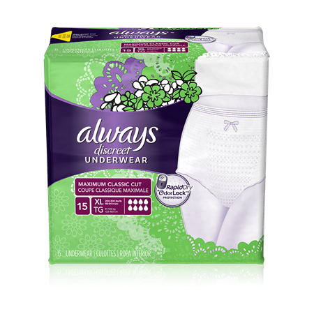 Always Discreet Briefs, Maximum, X-Large, 3 Units x 15 ct (45 total)