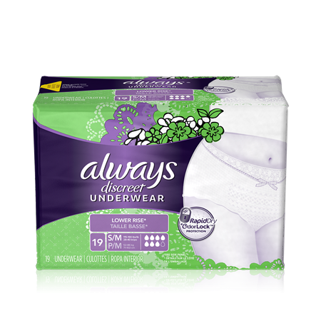 Always Discreet Low Waist Underwear, Small/Medium, 3 Units x 19 Pads (57 total)