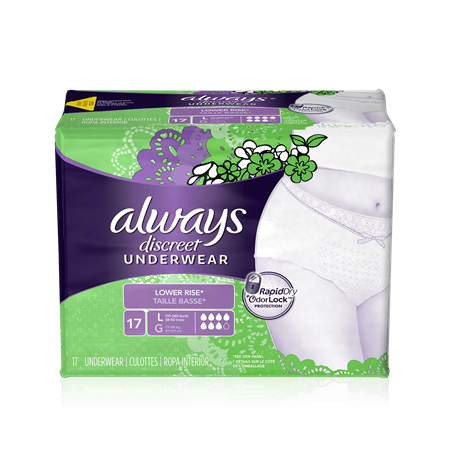 Always Discreet Low Waist Underwear, Large, 3 Units x 17 Pads (51 total)