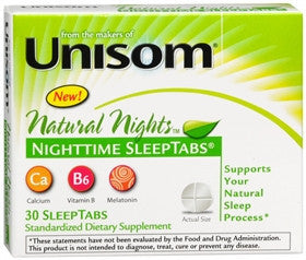 Unisom Natural Nights SleepTabs, 30 count