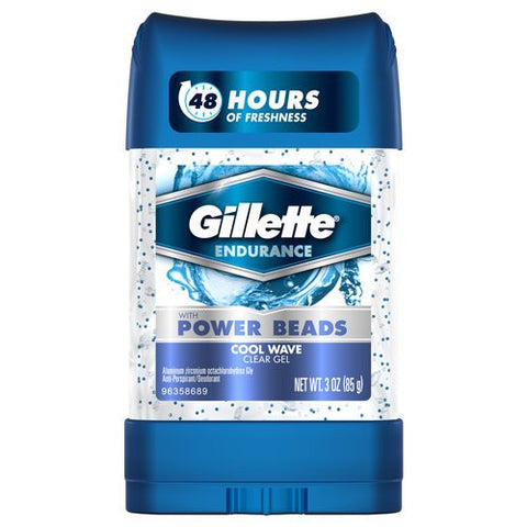 Gillette Anti-Perspirant Deodorant, Power Beads Clear Gel, Cool Wave, 3 oz
