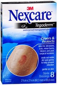 Nexcare Tegaderm Waterproof, Transparent Dressing. 8 ea