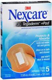 Nexcare Tegaderm +Pad, Waterprrof, Transparent Dressing, 5 ea