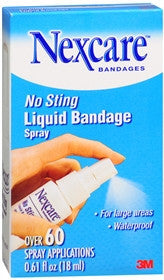 Nexcare No Sting Liquid Bandage Spray, 60 applications