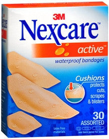 Nexcare Active Waterproof Bandages,  Assorted, 30 ct