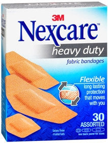 Nexcare Heavy Duty Flexible Fabric Bandages, Assorted Sizes, 30 ea