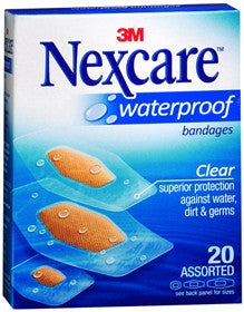 Nexcare Waterproof Bandages, Clear, 20 ea