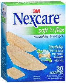 Nexcare Soft 'n Flex Natural Feel Bandages,  Assorted, 30 ea