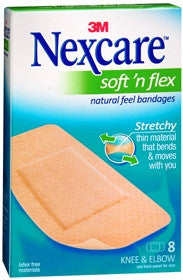 Nexcare Soft 'n Flex  Bandages, Knee and Elbow, 8 ea