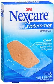 Nexcare Waterproof Bandages, Elbow and Knee, 8 ea