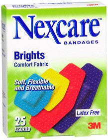 Nexcare Brights Comfort Foam Bandages,  Assorted Sizes, 25 bandages