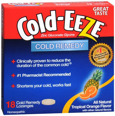 Cold-Eeze Cold Remedy Lozenges, Tropical Fruit, 18 ea