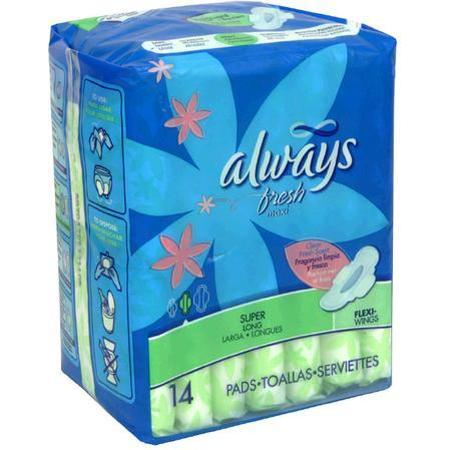 Always Maxi Pads, with Flexi-Wings, Long, Super/Heavy, Clean Fresh Scent, 12 Units 14 pad - PlanetRx