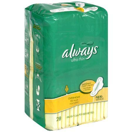 Always Ultra Thin Pads, with Flexi-Wings, Overnight, 6 Units 28 pad - PlanetRx