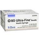 Becton-Dickinson Ultrafine U-100 Insulin Syringe,  30 Gauge 1/2inch, 100 Units 1 cc