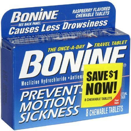 Bonine Motion Sickness Aid, Raspberry, Chewable Tablets, 8 tab