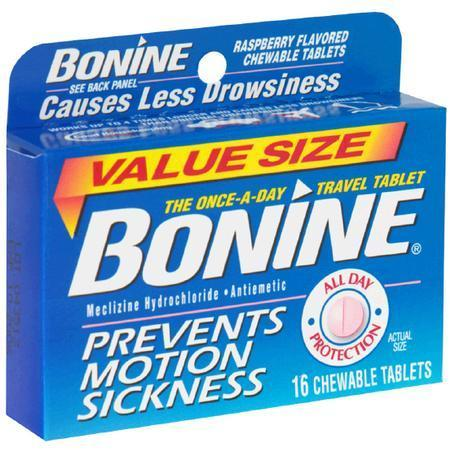 Bonine Motion Sickness Aid, Raspberry, Chewable Tablets, Value Size, 16 tab