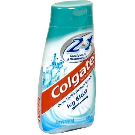 Colgate 2 in 1 Toothpaste & Mouthwash,  Icy Blast Whitening, Liquid Gel, 4.6 oz