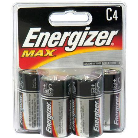 Energizer Alkaline Battery,  C, 4 batteries