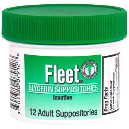 Fleet Glycerin Suppositories Laxative, Adult, 12 ea