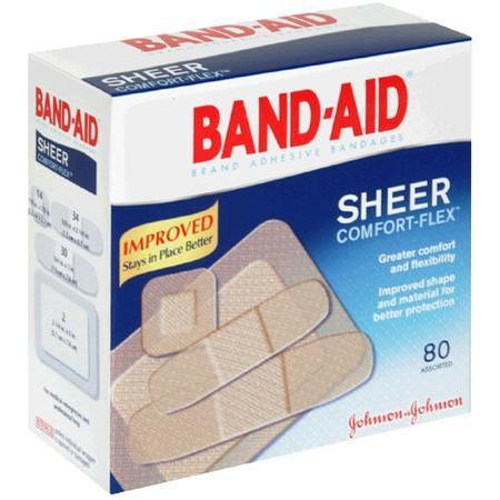 Johnson & Johnson Adhesive Bandages,  Sheer, Assorted, 80 ea