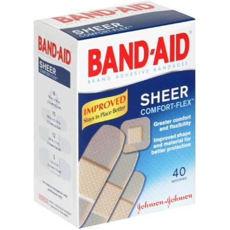 Johnson & Johnson Adhesive Bandages,  Sheer, Assorted, 40 ea