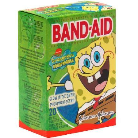 Johnson & Johnson Adhesive Bandages,  SpongeBob SquarePants, Assorted Sizes, 20 ea