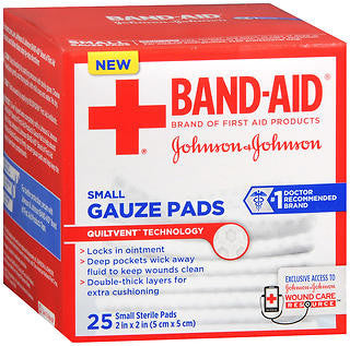 Johnson & Johnson Gauze Pads,  Small, 25 ea