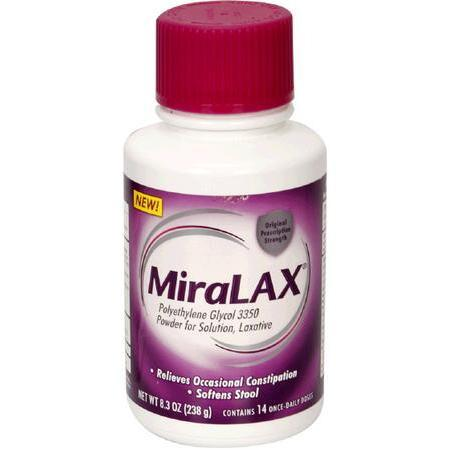 Miralax Polyethylene Glycol, 3350, Laxative, Powder for Solution, 238 gram