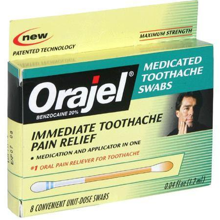Orajel Medicated Toothache Swabs, Maximum Strength, 0.4 oz