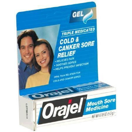 Oragel Mouth Sore Medicine Gel, Triple Medicated, 0.18 oz