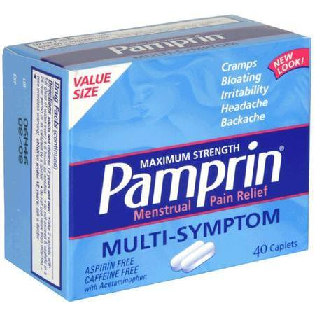 Pamprin Menstrual Pain Relief, Maximum Strength, Multi-Symptom, Caplets, Value Size, 40 caplets