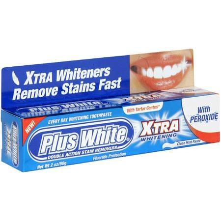 Plus White Every Day Whitening Toothpaste, with Tartar Control, Clean Mint, 2 oz