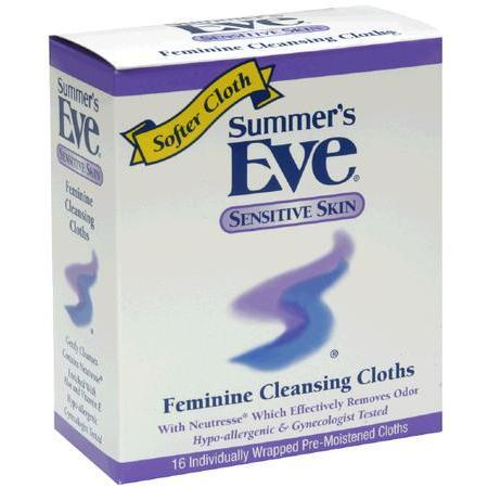 Summers Eve Feminine Cleansing Cloths, Feminine Cleansing Cloths, Sensitive Skin, 16 ea