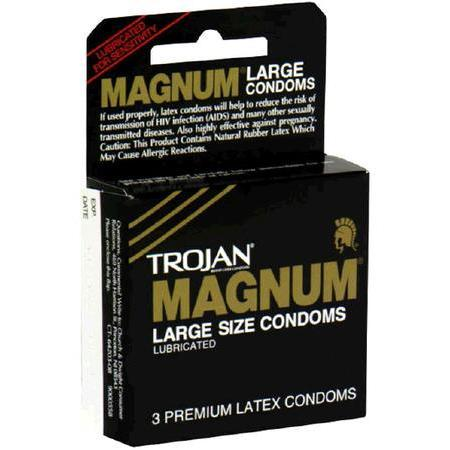 Trojan Premium Latex Condoms, Lubricated, Large Size, 3 ea